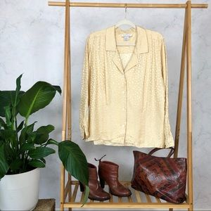 Vintage 80s Silk Cream Pleated Button Up Blouse
